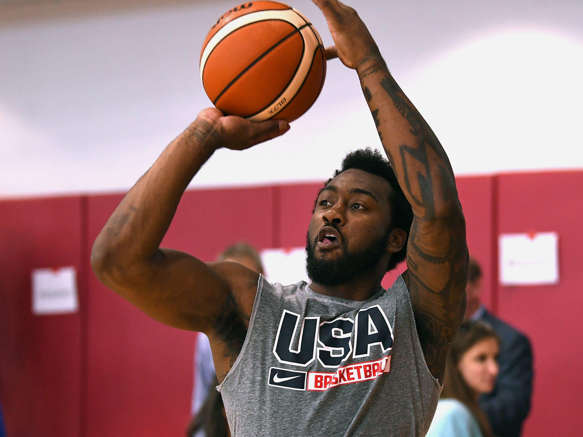John Wall shoots during the 2018 USA Basketball National Team Minicamp.