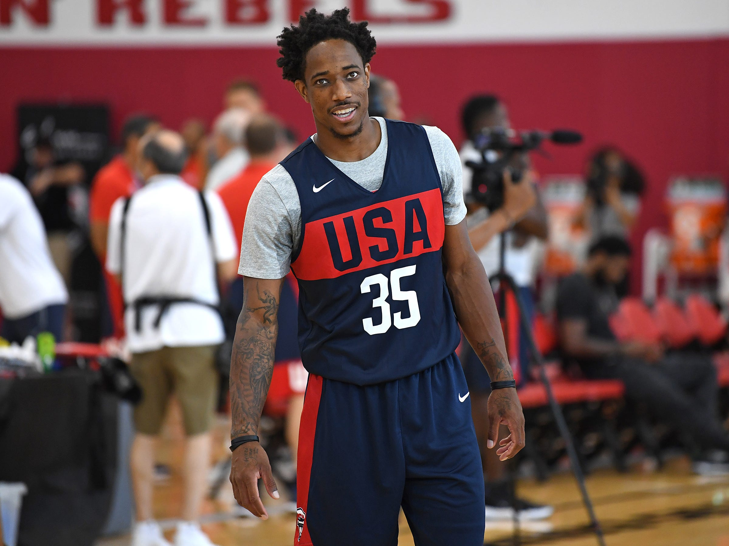 DeMar DeRozan is pictured during the 2018 USA Basketball National Team Minicamp.