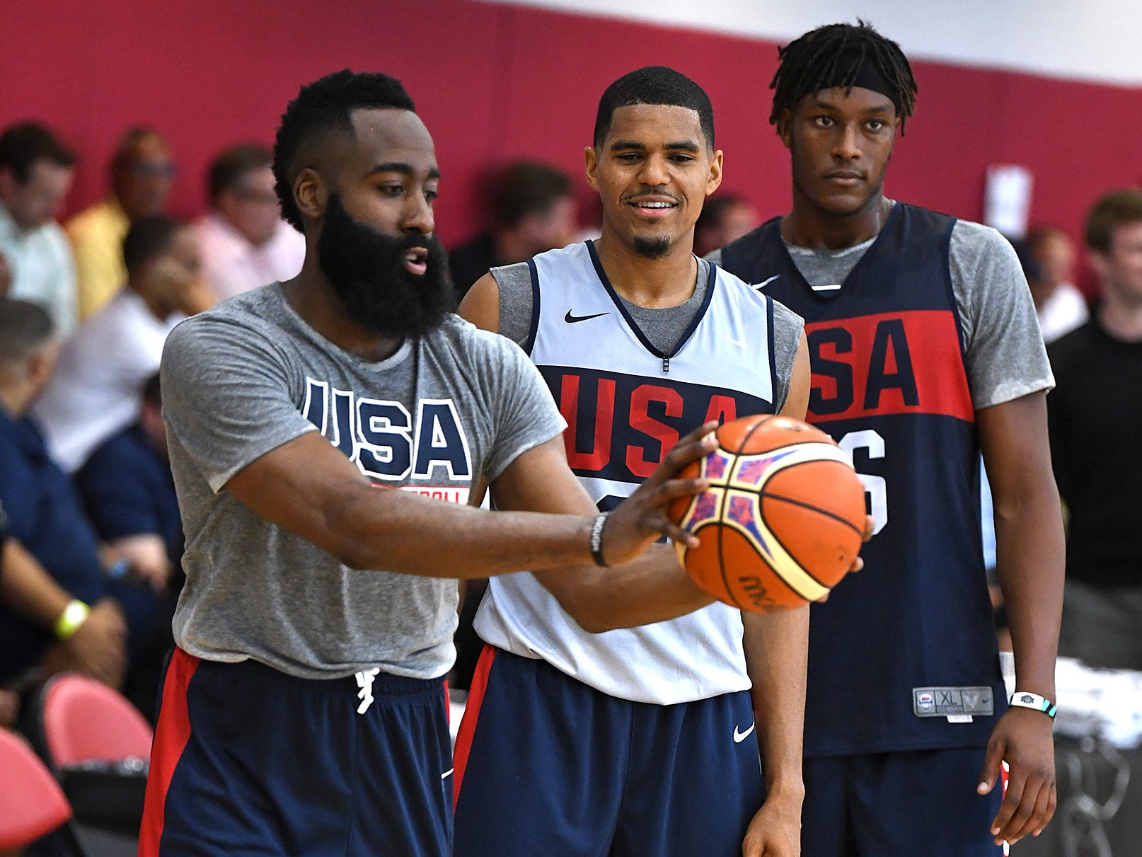 James Harden demonstrates proper shooting grip to Tobias Harris during the 2018 USA Basketball National Team Minicamp.