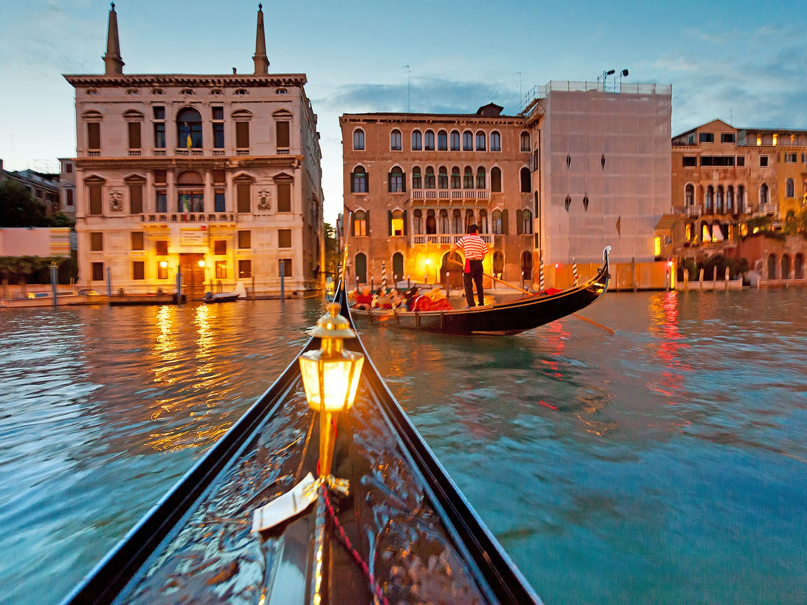 Though expensive, riding a gondola at night is one of the great experiences in Europe.