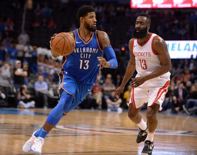 Paul George averaged 21.9 points a game in his first season with the Thunder.
