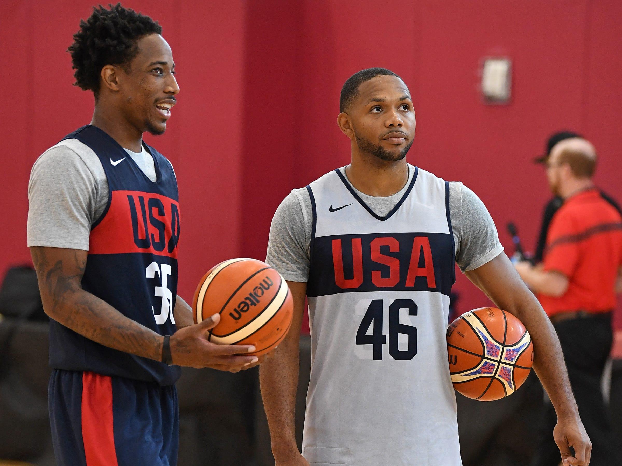 DeMar DeRozan talks to Eric Gordon during the 2018 USA Basketball National Team Minicamp.