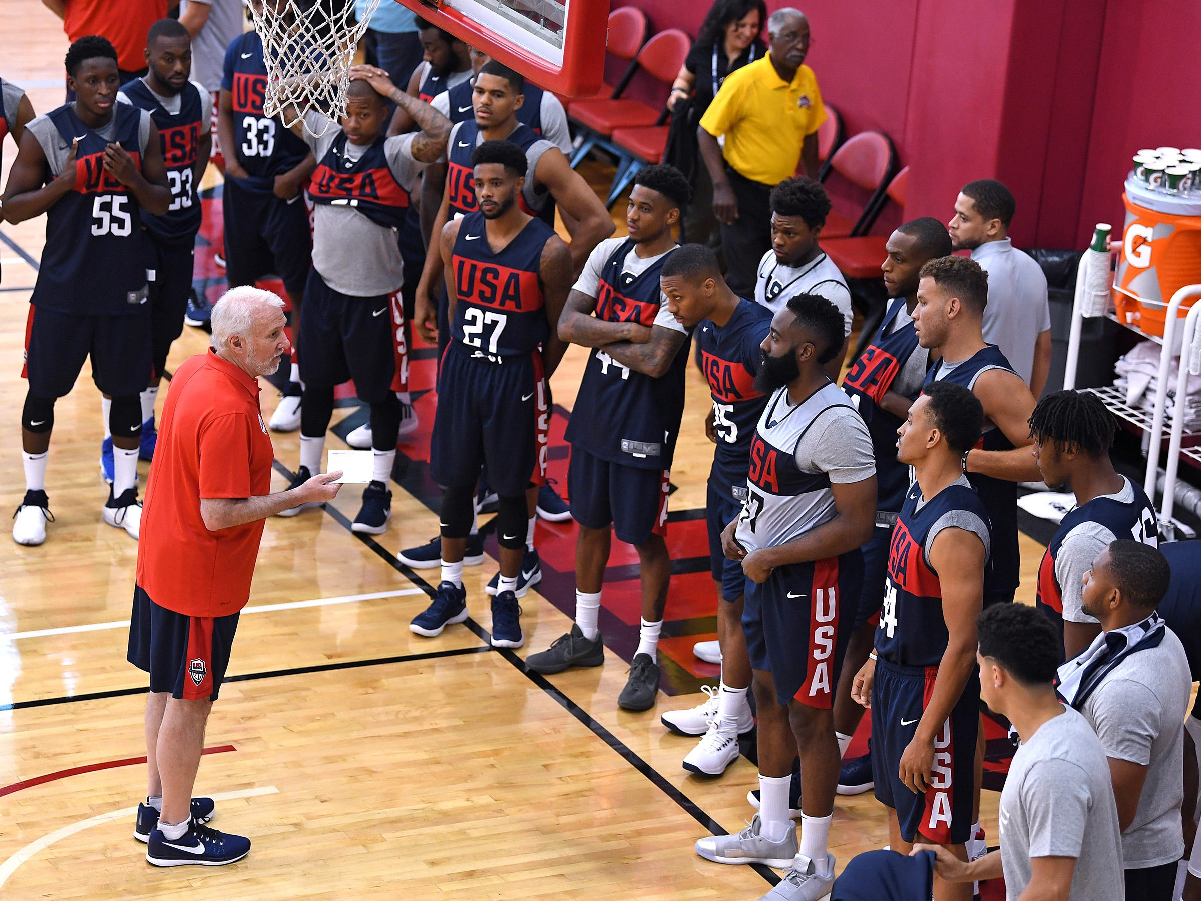 Gregg Popovich talks to his players at the start of the 2018 USA Basketball National Team Minicamp.