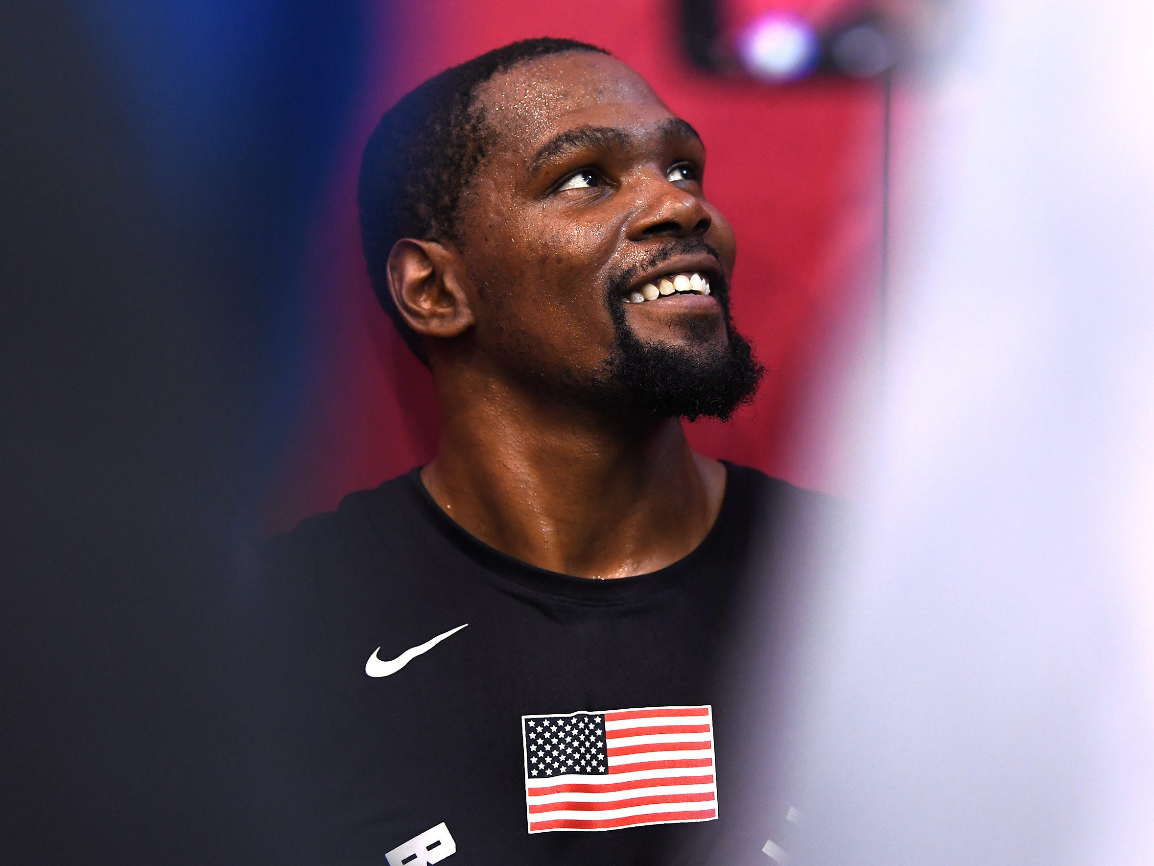Kevin Durant responds to a reporter during the 2018 USA Basketball National Team Minicamp.