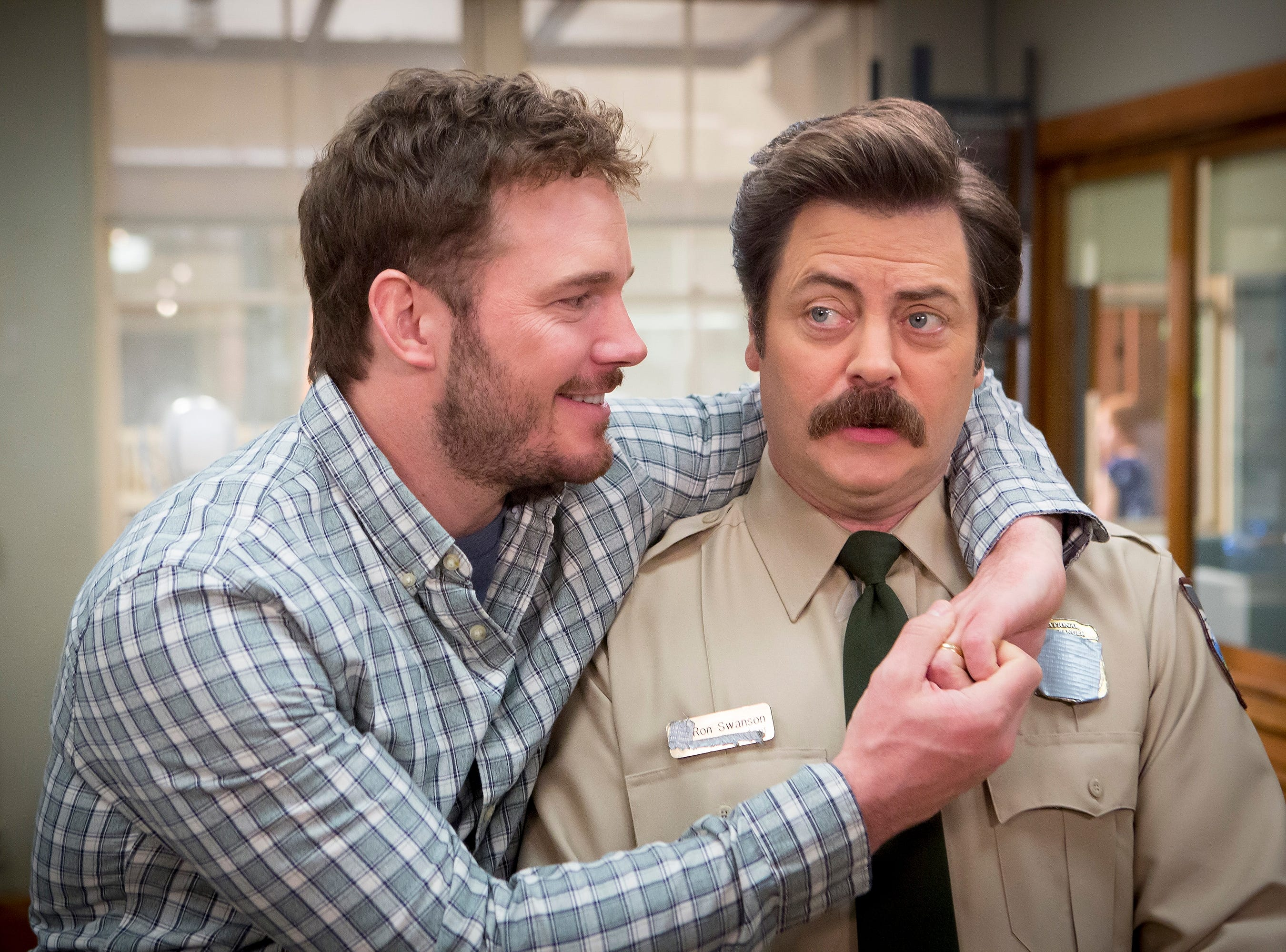 Ron Swanson's seriousness was balanced by the fun-loving parks and rec employee Andy Dwyer, played by Chris Pratt.