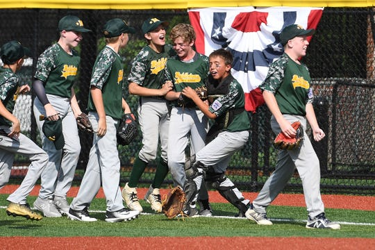 Middletown vs Elmora Youth in the Joe Graziano Little League NJ State Tournament in Secaucus on Saturday, July 28, 2018.  Middletown celebrates defeating Elmora Youth.