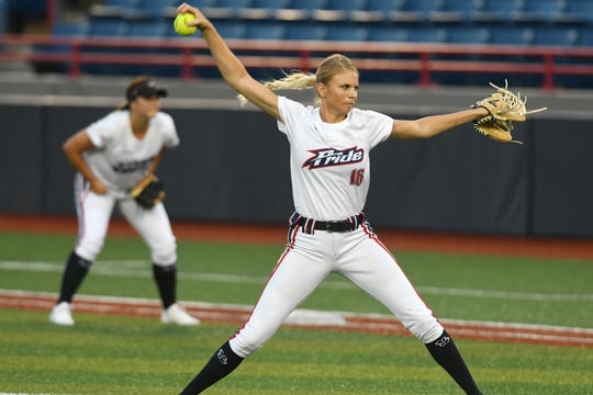 Former FSU star Jessica Burroughs pitches for the USSSA Pride.