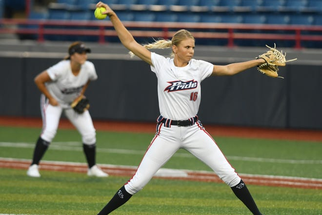 Jessica Burroughs pitches for the USSSA Pride during Friday's game in Viera.