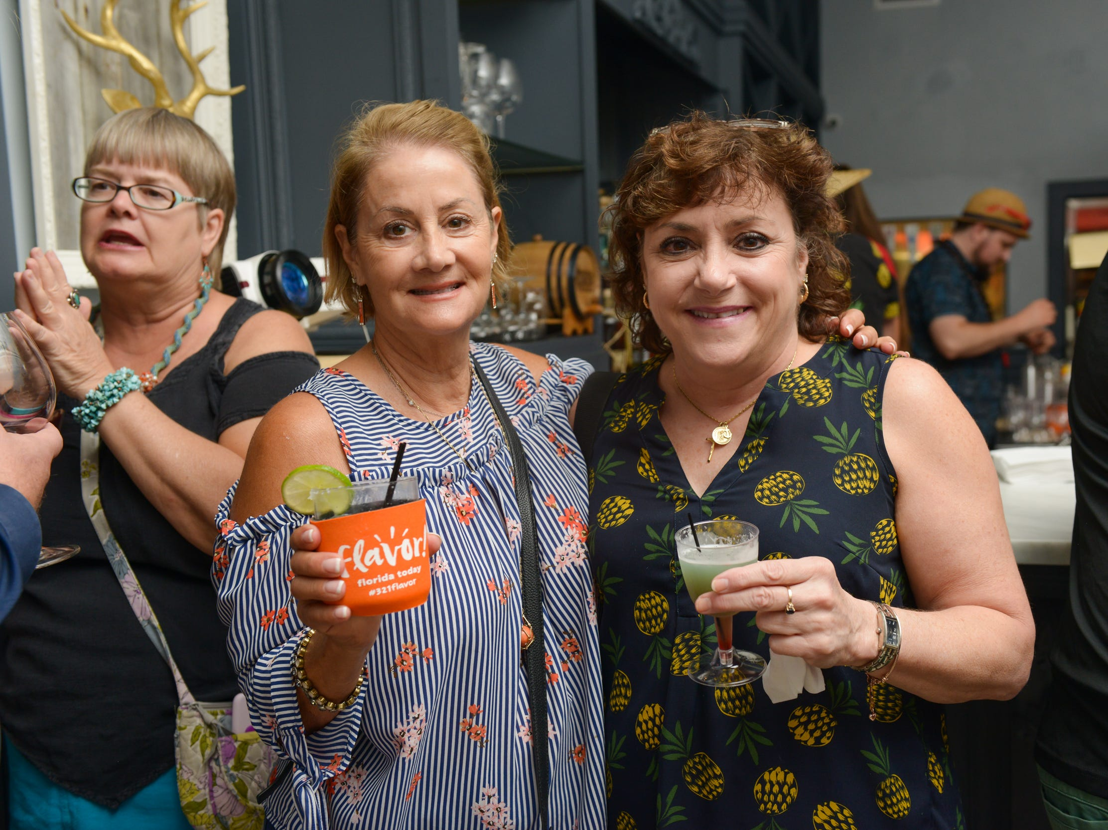 Alexa Brickweg and Doreen Everett at a community gathering to kick off Shark Week, hosted by Florida Today at Crush XI in downtown Melbourne.