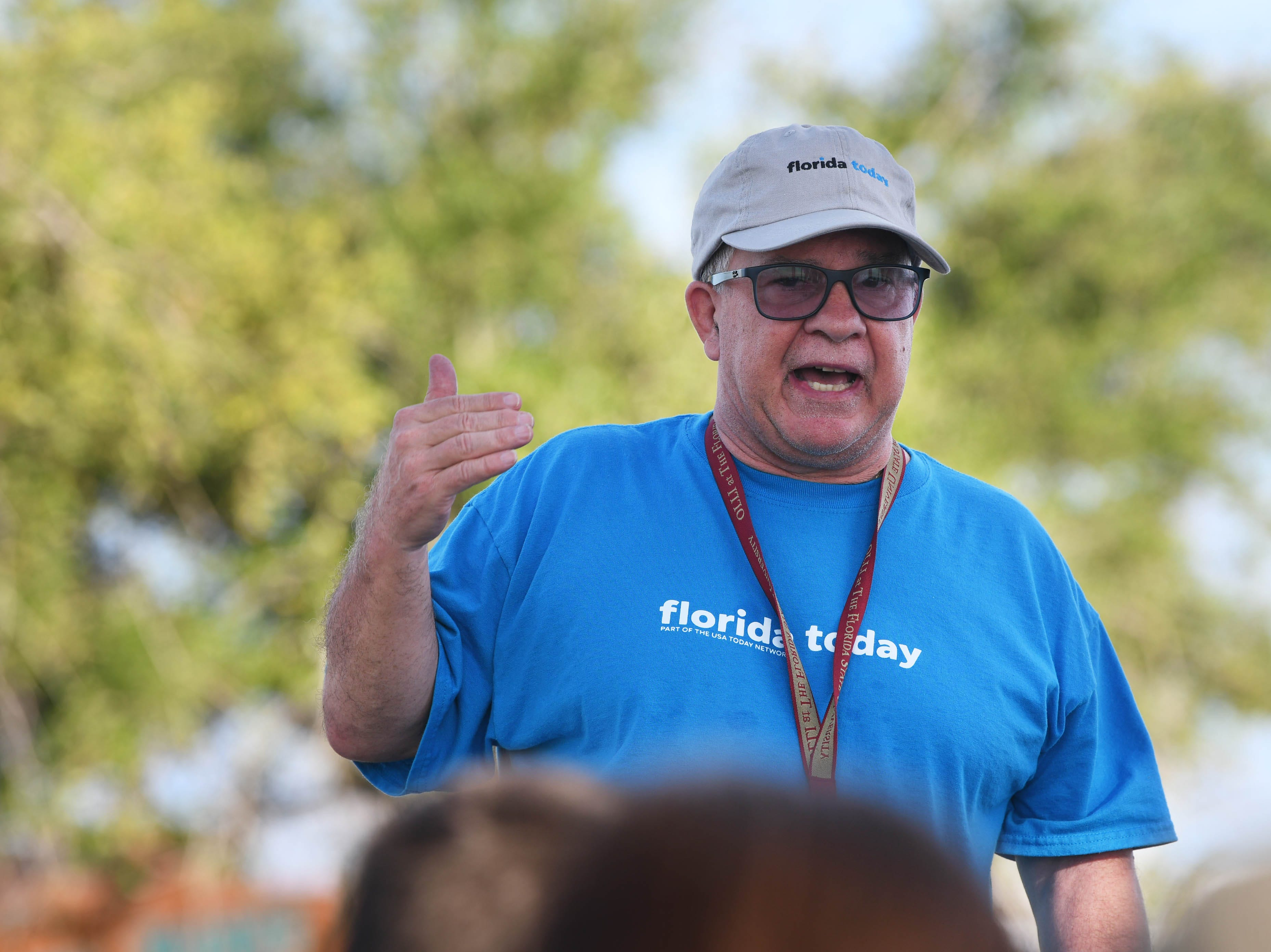 FLORIDA TODAY Executive Editor Bob Gabordi addresses the crowd at Kelly Park East in Merritt Island Saturday. This was the final stop of the Keep Brevard Beautiful/FLORIDA TODAY Summer Series cleanup