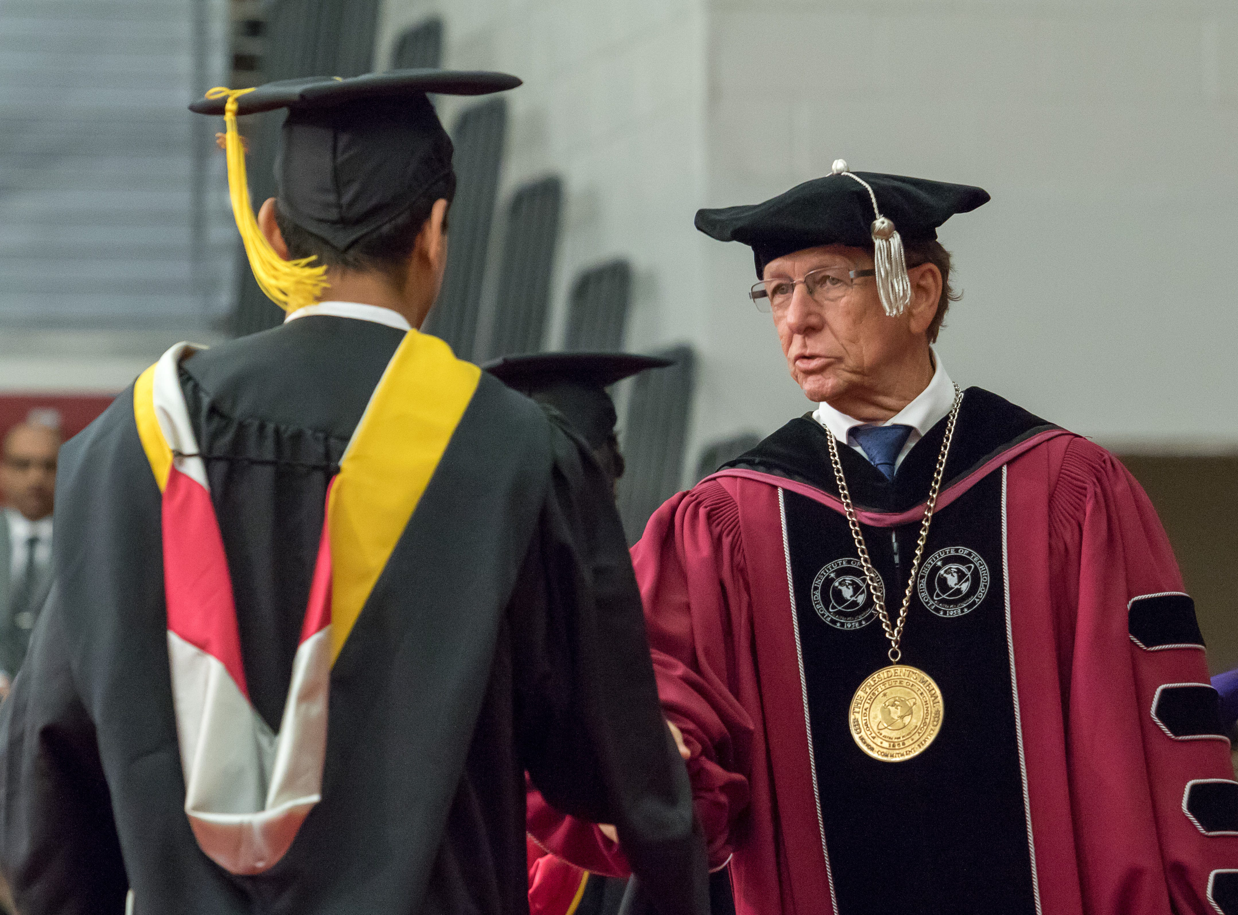 Florida Tech president Dwayne McCay spoke to students at the university's commencement ceremony Saturday.