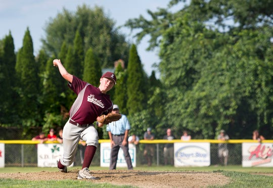 Lyndon pitcher Austin Wheeler fires to the plate during Saturday's Little League state championship game at Schifilliti Park.