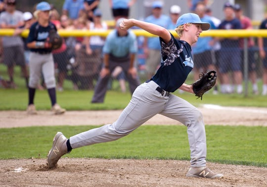 South Burlington pitcher Andre Bouffard fires to the plate in the first inning of Saturday's Little League state championship game at Schifilliti Park.