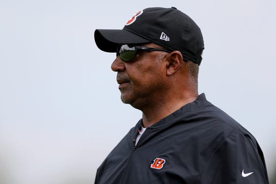 Cincinnati Bengals head coach Marvin Lewis observes during Cincinnati Bengals training camp on the practice fields next to Paul Brown Stadium, Thursday, July 26, 2018, in Cincinnati.