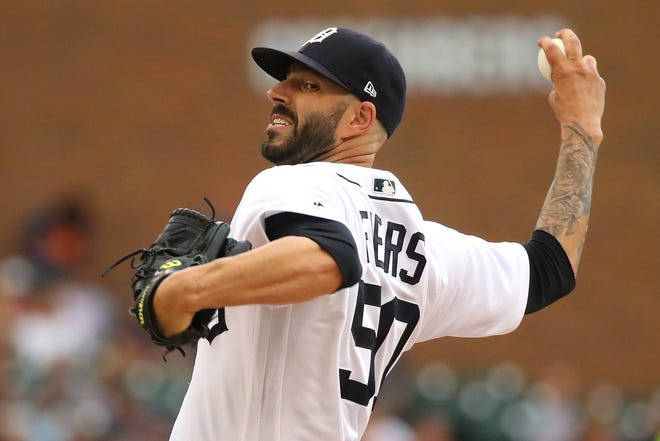 Tigers pitcher Mike Fiers throws a second-inning pitch while playing the Indians at Comerica Park on July 27.