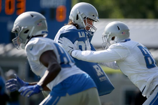 Tight end Luke Willson practices, during the Detroit Lions training camp at their practice facility in Allen Park on Sat. July 28, 2018.