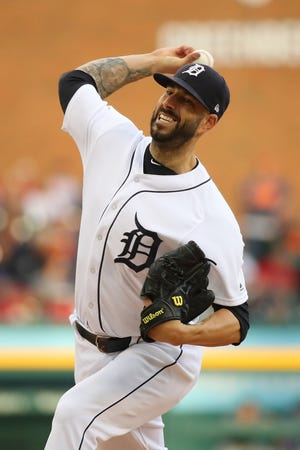 Detroit Tigers pitcher Mike Fiers throws a second-inning pitch while playing the Cleveland Indians at Comerica Park on July 27, 2018 in Detroit.