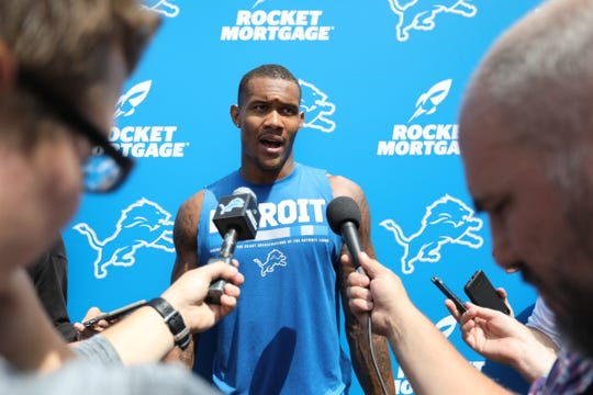 Wide Receiver Kenny Golladay speaks to the media after the Detroit Lions training camp at their practice facility in Allen Park on Sat. July 28, 2018.