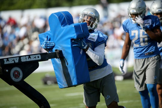 Detroit Lions cornerback Darius Slay runs a drill, during the Detroit Lions training camp at their practice facility in Allen Park on Sat. July 28, 2018.