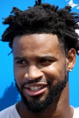 Cornerback Darius Slay speaks to the media at Detroit Lions training camp at their practice facility in Allen Park on Saturday, July 28, 2018.