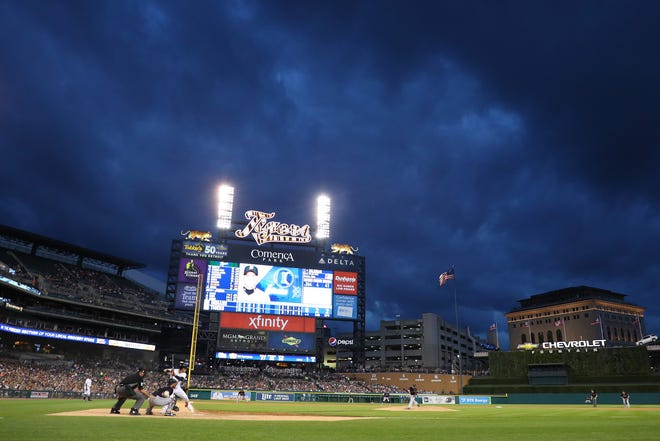Tigers play the Indians during the sixth inning at Comerica Park on Friday. Cleveland won, 8-3.