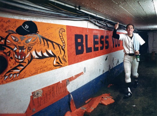 Detroit Tiger Alan Trammell in the tunnel leading from the  field to the clubhouse after winning the World Series in October 1984 at Tiger Stadium in Detroit.