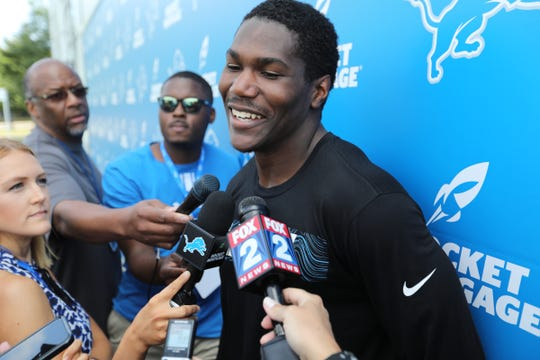Running back Kerryon Johnson speaks to the media after the Detroit Lions training camp at their practice facility in Allen Park on Saturday, July 28, 2018.