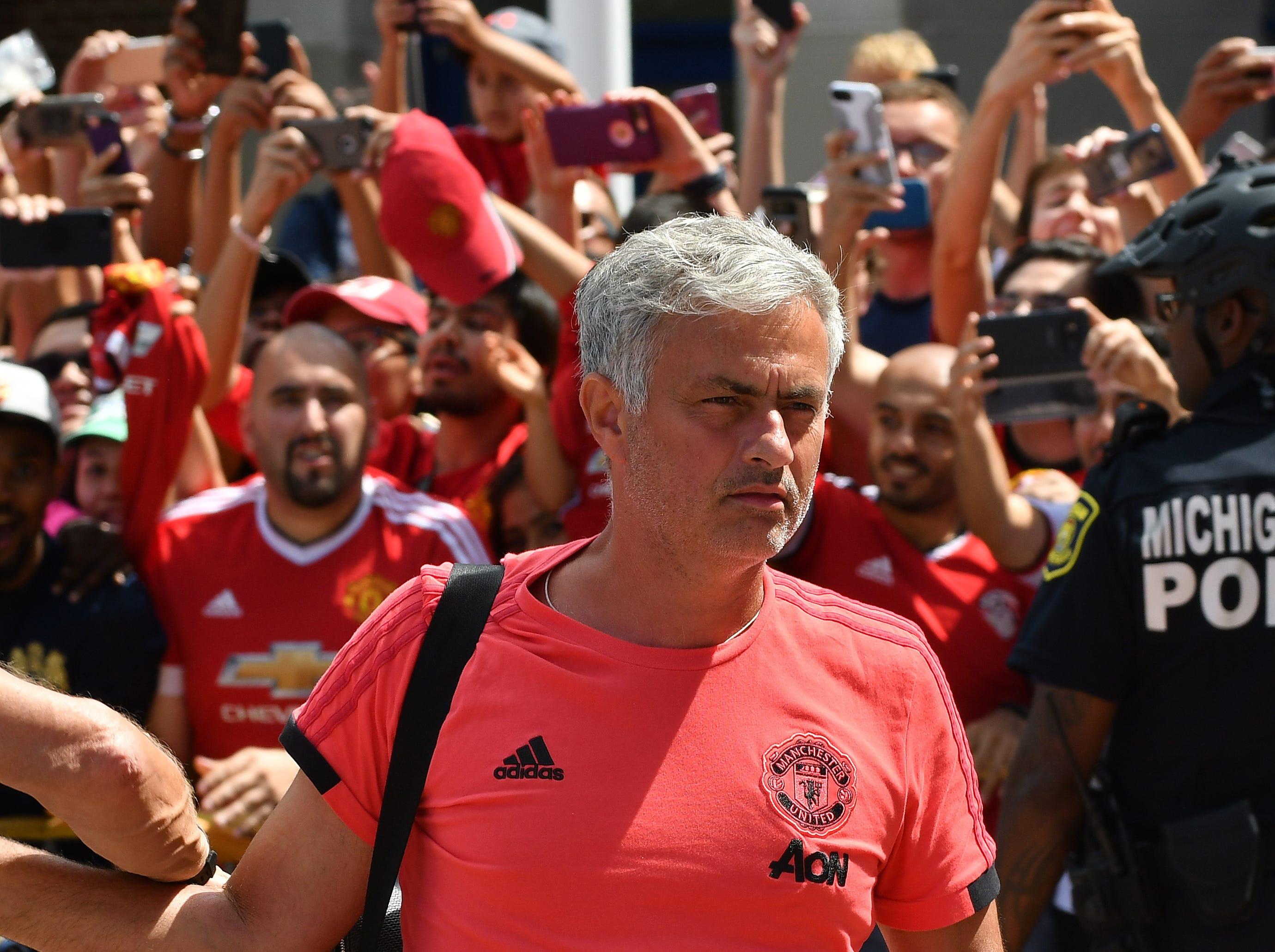 Manchester United head coach Jose Mourinho arrives to the stadium.