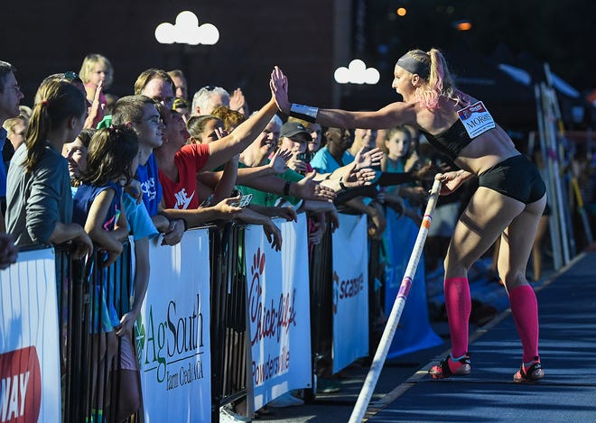 The Liberty Bridge Jump-Off was held on South Main St. in downtown Greenville Friday, July 27, 2018.