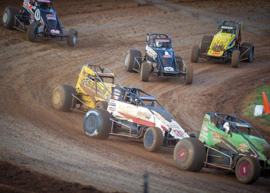 Drivers competed in the feature race at Bloomington. This was the sixth of seven races of the 31st Annual Indiana Sprint Week, part of the 2018 USAC AMSOIL National Sprint Car season Friday, July 27, 2018.