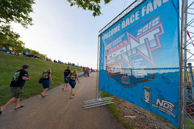 Fans arrive to the track before the racing begins. Drivers competed in the sixth of seven races of the 31st Annual Indiana Sprint Week, part of the 2018 USAC AMSOIL National Sprint Car season, at Bloomington Speedway, Friday, July 27, 2018.