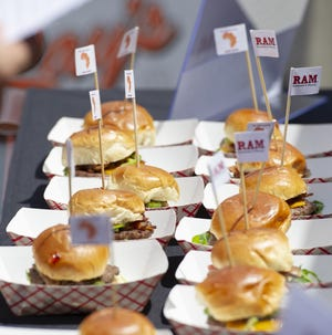 The burger creation of Ram Restaurant and Brewery. The 6th Annual Indy Burger Battle was held in downtown Indianapolis along Georgia Street, Saturday, July 28, 2018. Proceeds from the event go towards building a school in Uganda.