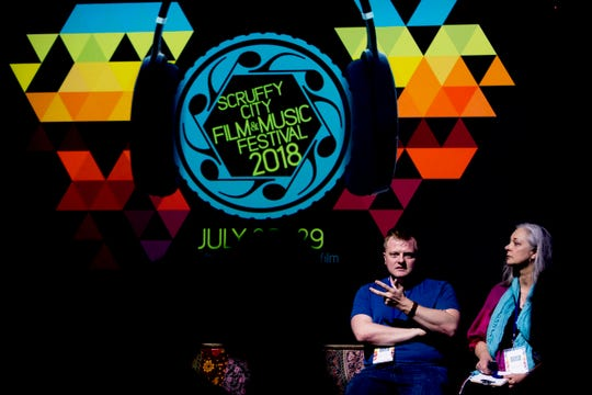 """Jordan Beck, principal voice actor for the movie """"Sergeant Stubby An American Hero,"""" speaks during a Q&A in Scruffy City Hall during the Scruffy City Film Festival in Knoxville on July 28, 2018."""
