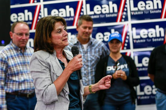 U.S. Senate candidate Leah Vukmir makes a speech during her campaign rally Friday, July 27, 2018, at the Republican Party of Wisconsin Wausau Field Office in Weston. Behind Vukmir are (from right) Rachel Campos-Duffy, Congressman Sean Duffy and Sen. Tom Tiffany.