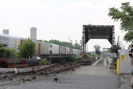 The aftermath of the collapse of the Susquehanna Railroad Bridge at Overpeck Creek in Ridgefield Park, NJ, on Saturday, July 28, 2018.