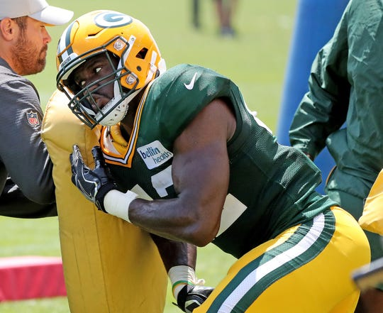 Green Bay Packers linebacker Oren Burks (42) during Green Bay Packers Training Camp Saturday, July 28, 2018 at Ray Nitschke Field in Ashwaubenon, Wis