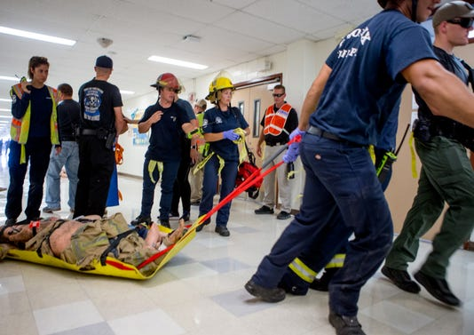 Phoenix Police And Fire Hold Active Shooter Training At Carl Hayden High School