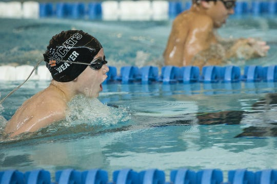 Colton Weaver, of the Bobcat Swim Club, competes in the boys 8 and under 25 meter breaststroke at the 2018 Capital Area Swim League Mid-Cap Championships at Spring Grove Area High School, Saturday, July 28, 2018.