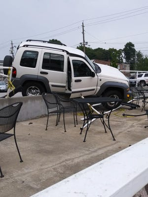 A Jeep crashed near the Central Family Restaurant in York Friday night.
