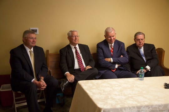 LDS Church Area Seventy Kevin Ence (from left), First Counselor Dean Davies of the Presiding Bishopric, Church Historian Steven Snow and Elder Jeffrey R. Holland of the Quorum of the Twelve Apostles talk about the rededication of the St. George Tabernacle on Saturday, July 28, 2018.