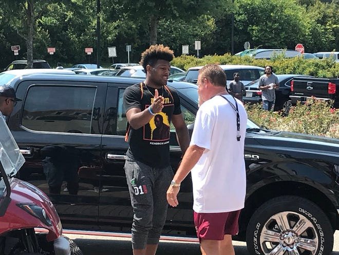 2019 defensive end Kayvon Thibodeaux was one of five five-star recruits who visited FSU this weekend.