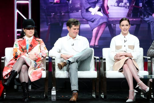 'Marvelous Mrs. Maisel' creators Amy Sherman-Palladino and Daniel Palladino, and star Rachel Brosnahan at the Television Critics Association's Summer 2018 TCA Press Tour.