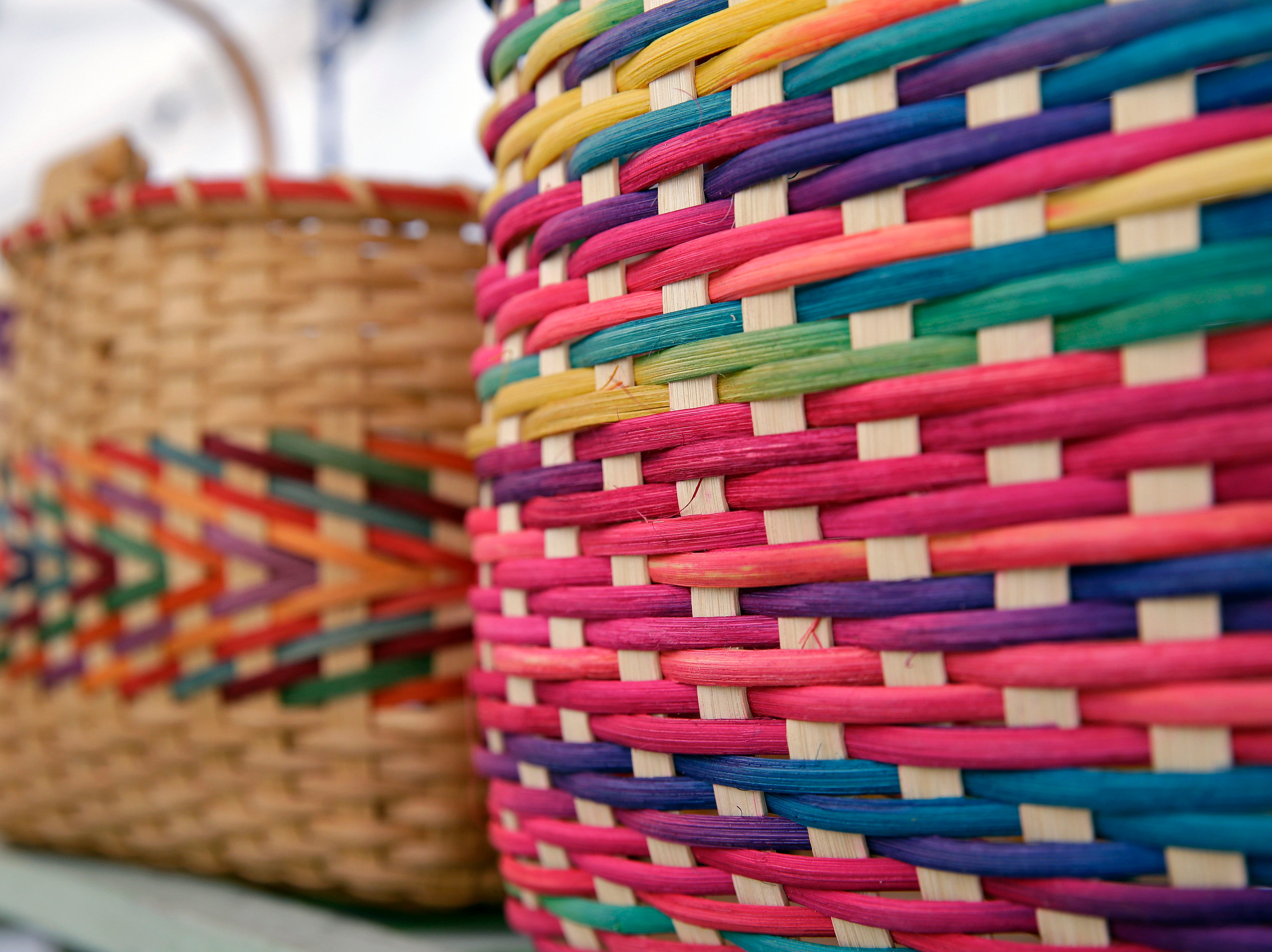 Baskets on display at the Basket Artistry booth as the 58th annual Art at the Park takes place Sunday, July 29, 2018, at City Park in Appleton, Wis.Ron Page/USA TODAY NETWORK-Wisconsin