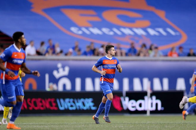 FC Cincinnati midfielder Tyler Gibson (4) made his team debut in the second half during an international friendly match between RCD Espanyol and FC Cincinnati, Saturday, July 28, 2018, at Nippert Stadium in Cincinnati.