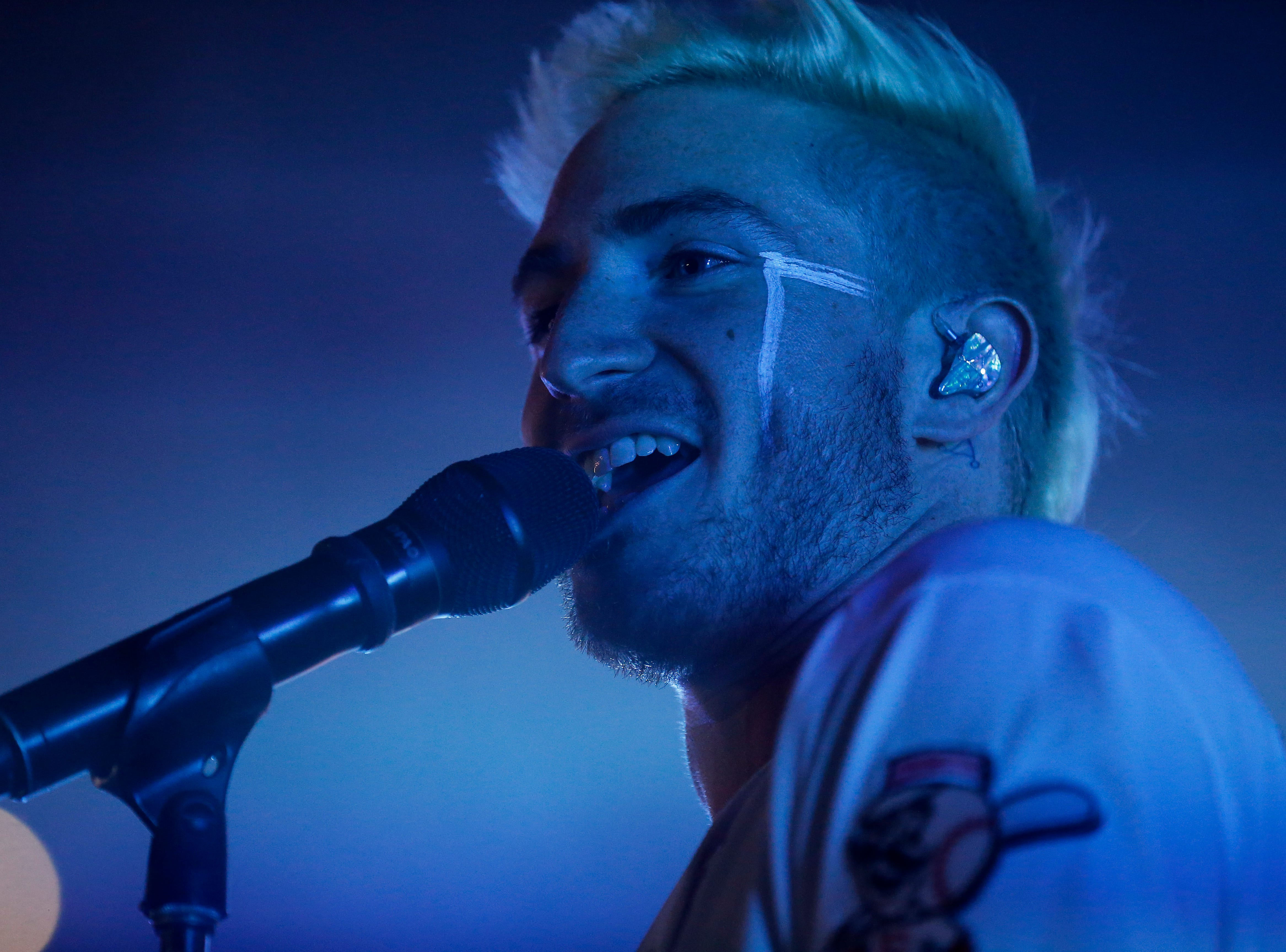 Walk The Moon performs after the Reds win against the Phillies at Great American Ball Park in downtown Cincinnati on Saturday, July 28, 2018.