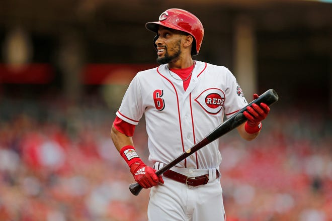 Cincinnati Reds center fielder Billy Hamilton (6) paces after a strike in the second inning of the MLB National League game between the Cincinnati Reds and the Philadelphia Phillies at Great American Ball Park in downtown Cincinnati on Saturday, July 28, 2018.