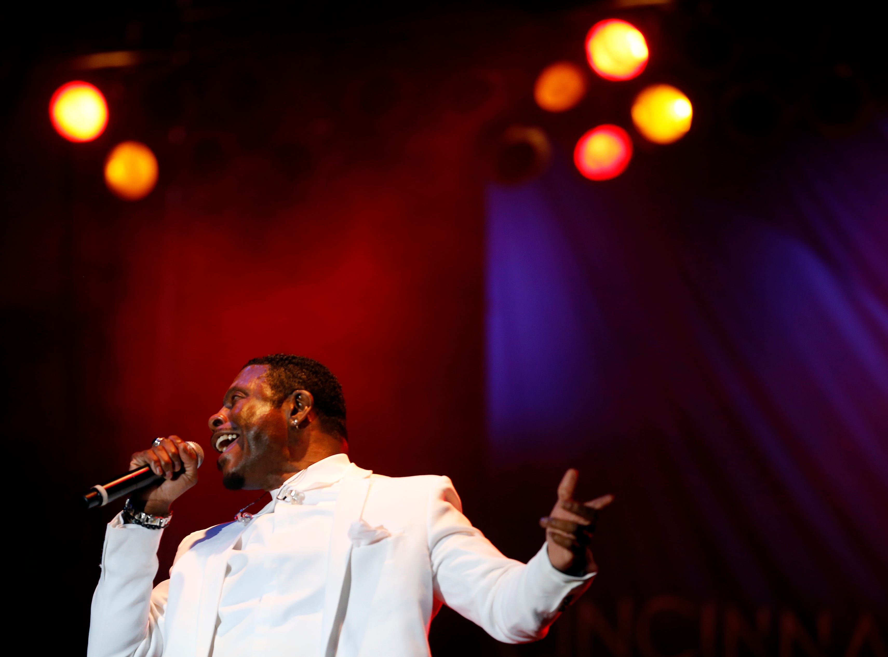 Keith Sweat performs during the Cincinnati Music Festival.