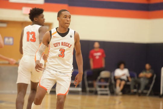 Class of 2019 point guard Mika Adams-Woods gets back on defense during the Fab 48 in Las Vegas.