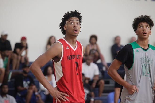 Indiana five-star target Trendon Watford watches a free throw attempt during the Las Vegas Summer Showcase.