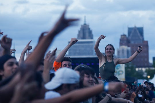 Fans cheer as Vince Staples performs at the River Stage during Mo Pop Festival at West Riverfront Park in Detroit, Saturday, July 28, 2018.